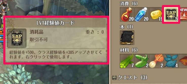 treeofsavior_経験値カード