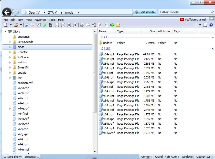 皆さん使っているOpenIVの画面。基本的にMODはmodsフォルダを作って、その中にコピーしたrpfなどを入れて使います。
